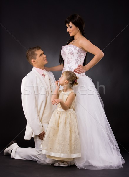 Wedding couple and bridesmaid Stock photo © nyul