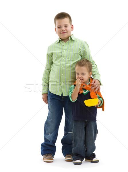 De moda jóvenes hermanos jeans ropa Foto stock © nyul