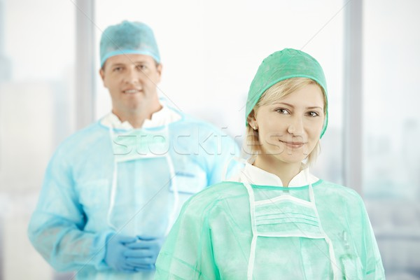 Two doctors in scrubs Stock photo © nyul