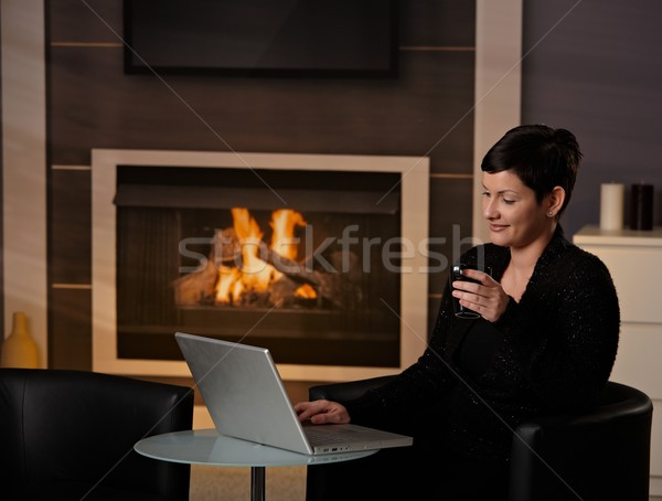 Woman using computer at home Stock photo © nyul