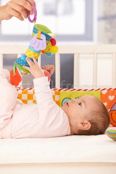 Stok fotoğraf: Oynama · anne · bebek · oyuncak