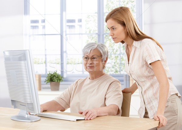 Stock fotó: Idős · anya · lánygyermek · fiatal · számítógéphasználat · otthon