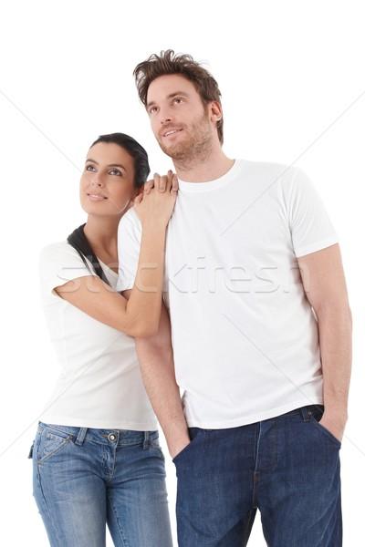 Regarder distance jeunes affectueux couple Photo stock © nyul