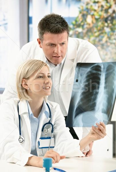 Orvosi konzultáció röntgen kép kettő orvosok Stock fotó © nyul