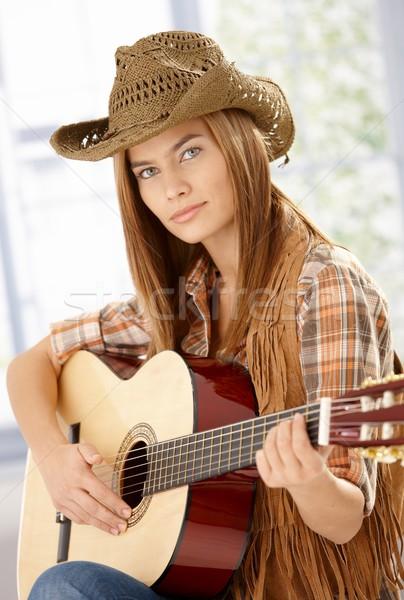 ストックフォト: 魅力的な · 西部 · 帽子 · 小さな