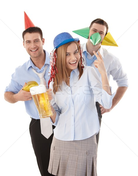 Happy colleagues having party fun in office Stock photo © nyul