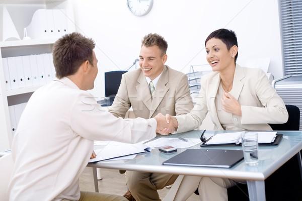 Entrevista de emprego escritório homem feliz grupo Foto stock © nyul