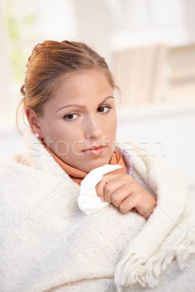Portrait of young female having flu feeling bad Stock photo © nyul