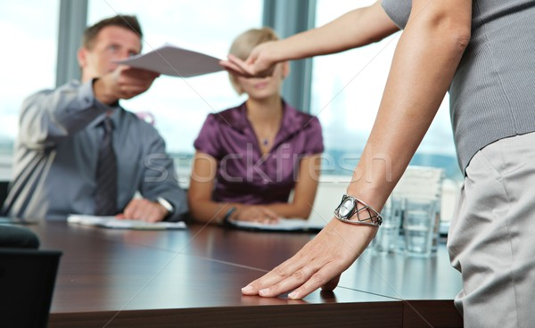 Hand on business meeting Stock photo © nyul