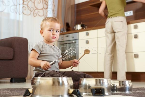 мало мальчика играет кухне сидят ковер Сток-фото © nyul