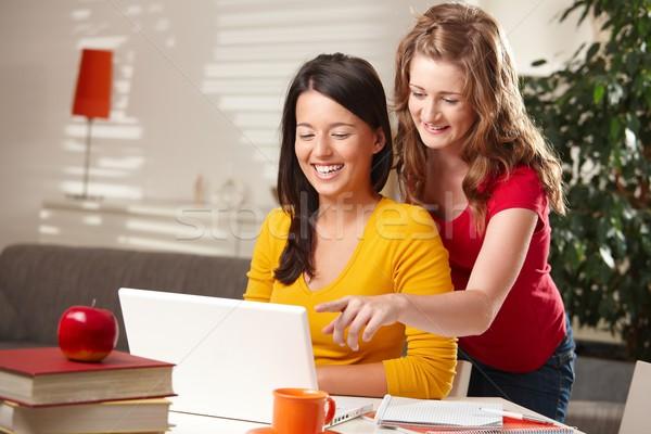 Nevet iskolás lányok néz számítógép laptop szőke Stock fotó © nyul