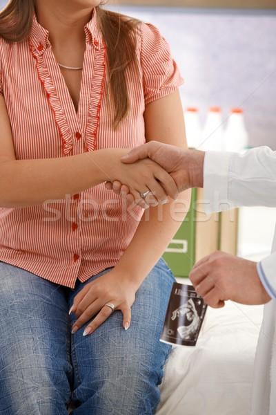 Stock fotó: Kézfogás · terhes · tanácsadás · terhes · nő · orvos · konzultáció