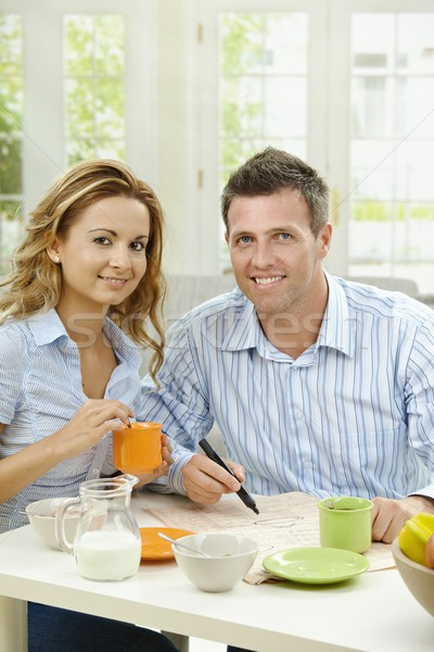 Stock photo: Couple drinking coffee