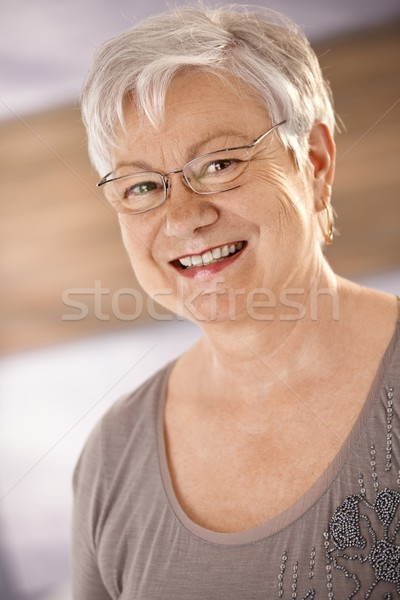 портрет счастливым женщины пенсионер белые волосы Сток-фото © nyul
