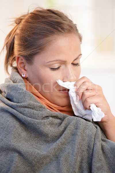 Young woman caught cold feeling bad Stock photo © nyul