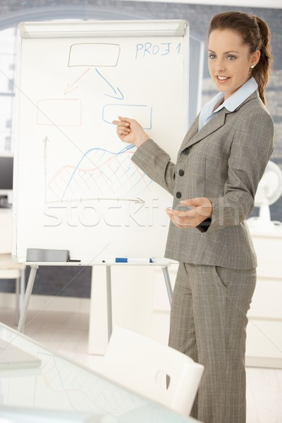 Young businesswoman presenting in office Stock photo © nyul