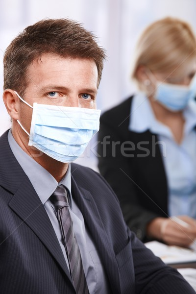 Uomini d'affari h1n1 virus imprenditore influenza Foto d'archivio © nyul