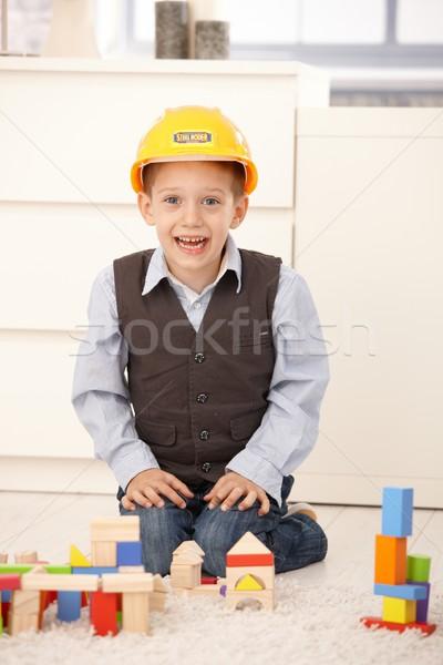Mutlu küçük erkek Bina ayarlamak Stok fotoğraf © nyul