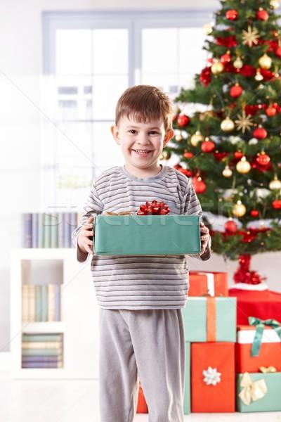 Happy little boy with christmas present Stock photo © nyul