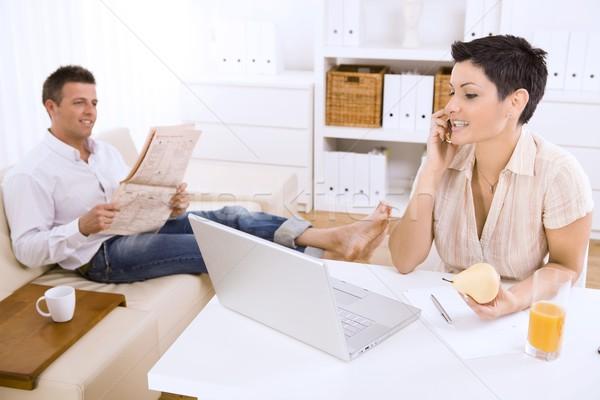 Woman talking on mobile phone Stock photo © nyul
