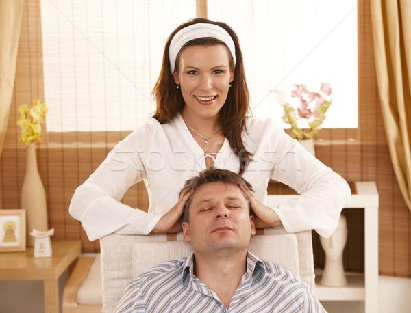 Man getting relaxing head massage Stock photo © nyul