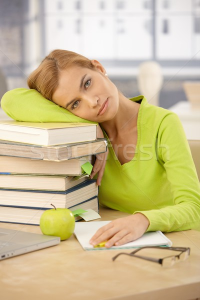 расслабляющая голову книгах портрет устал Сток-фото © nyul