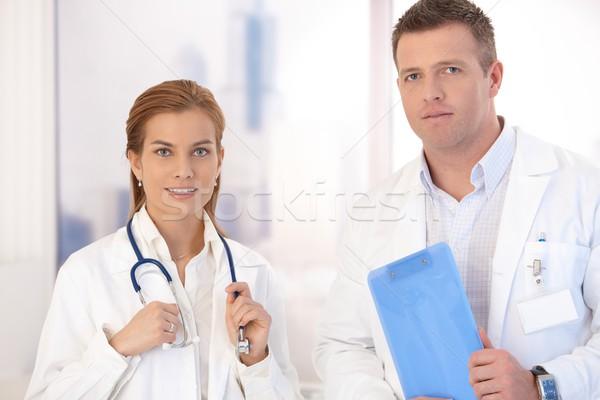 Сток-фото: портрет · молодые · привлекательный · мужчины · женщины · врачи