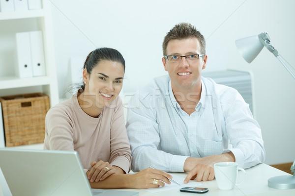 Paar werken home gelukkig jonge toevallig Stockfoto © nyul