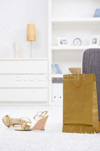 Stock photo: New shoes and shopping bag
