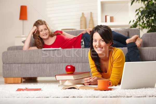 Uśmiechnięty uczennice nauki domu szczęśliwy salon Zdjęcia stock © nyul
