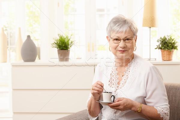 Senior woman drinking coffee Stock photo © nyul