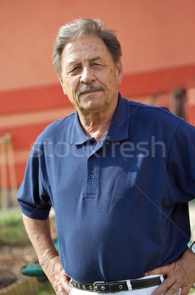 Saudável homem maduro caber 70 anos posando ao ar livre Foto stock © nyul
