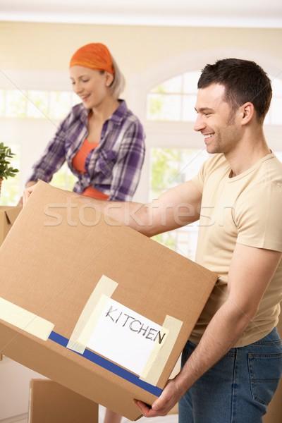 Сток-фото: улыбаясь · пару · коробки · движущихся
