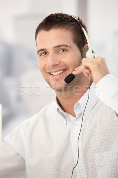 ストックフォト: 肖像 · 幸せ · 顧客サービス · 演算子 · 作業 · 明るい