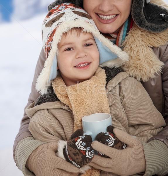 Stockfoto: Moeder · kind · winter · portret · gelukkig
