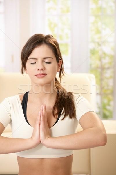 Stok fotoğraf: Kız · egzersiz · yoga · eller