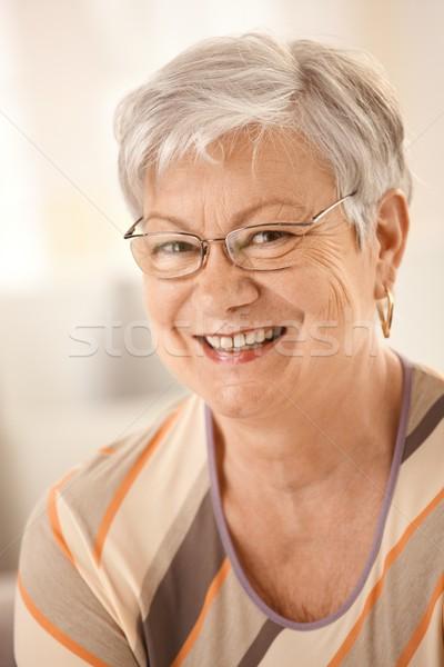 Сток-фото: портрет · счастливым · старший · женщину · очки