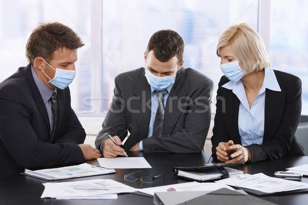 деловые люди h1n1 вирус свинья грипп Сток-фото © nyul