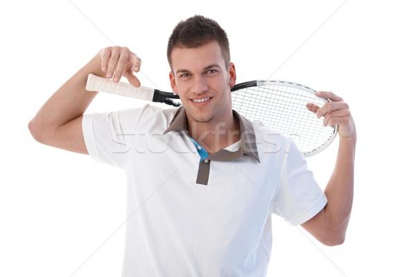Férfi teniszező elvesz törik fiatal mosolyog Stock fotó © nyul