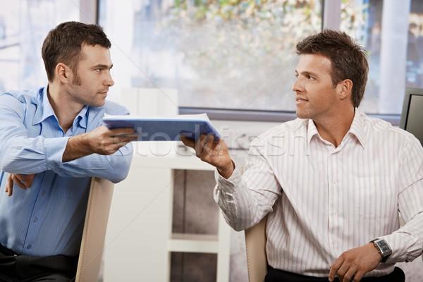 Foto stock: Empresários · trabalhando · escritório · dois · sessão · secretária