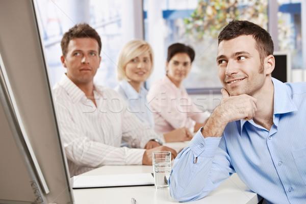 ストックフォト: ビジネスマン · 会議 · 幸せ · 営業会議 · オフィス