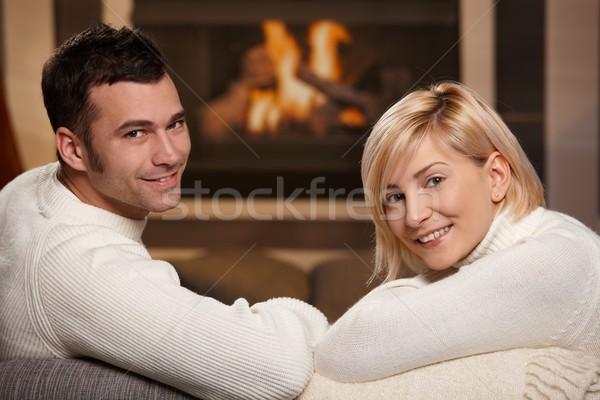 Romantische paar home jonge vergadering sofa Stockfoto © nyul