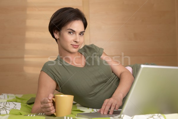 Morning portrait of smiling woman Stock photo © nyul