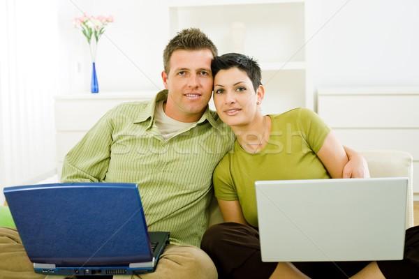 ストックフォト: カップル · 作業 · ノートパソコン · 愛 · ラップトップコンピュータ