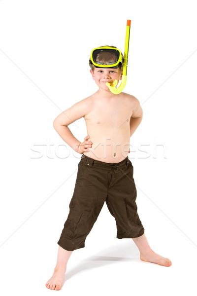 Boy ready for snorkelling Stock photo © nyul