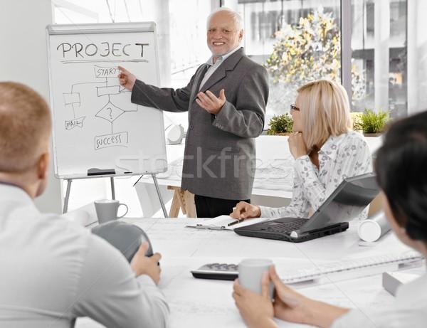Stock photo: Senior businessman talking to colleagues