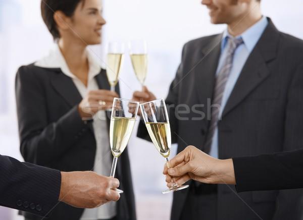 Photo stock: Gens · d'affaires · Toast · champagne · bureau · accent · affaires