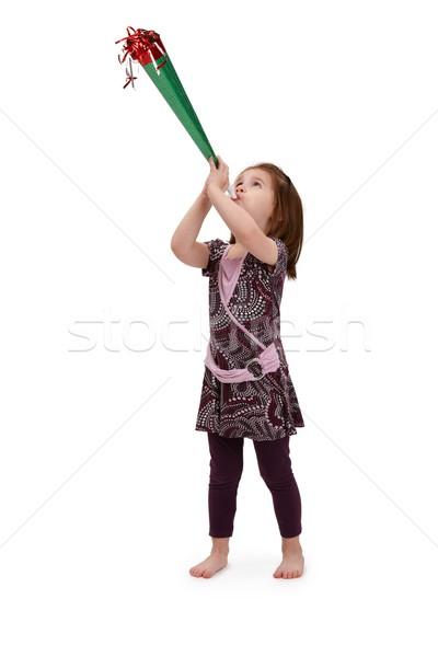 Сток-фото: девочку · вечеринка · Cute · довольно · платье
