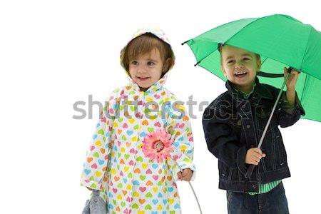 Gyerekek kész születésnap ünneplés visel buli Stock fotó © nyul