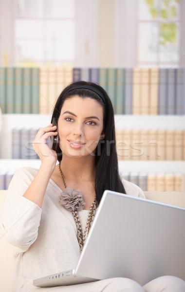 Happy woman on phone call at home Stock photo © nyul